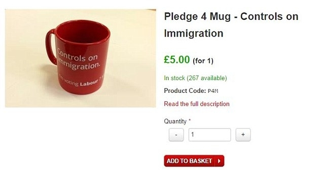 "Labour's ""Controls on Immigration"" mug from the 2015 election. After promising a leftist campaign, the party veered to the right, likely Labour voters failed to turn out, and the Conservatives celebrated a massive electoral victory."
