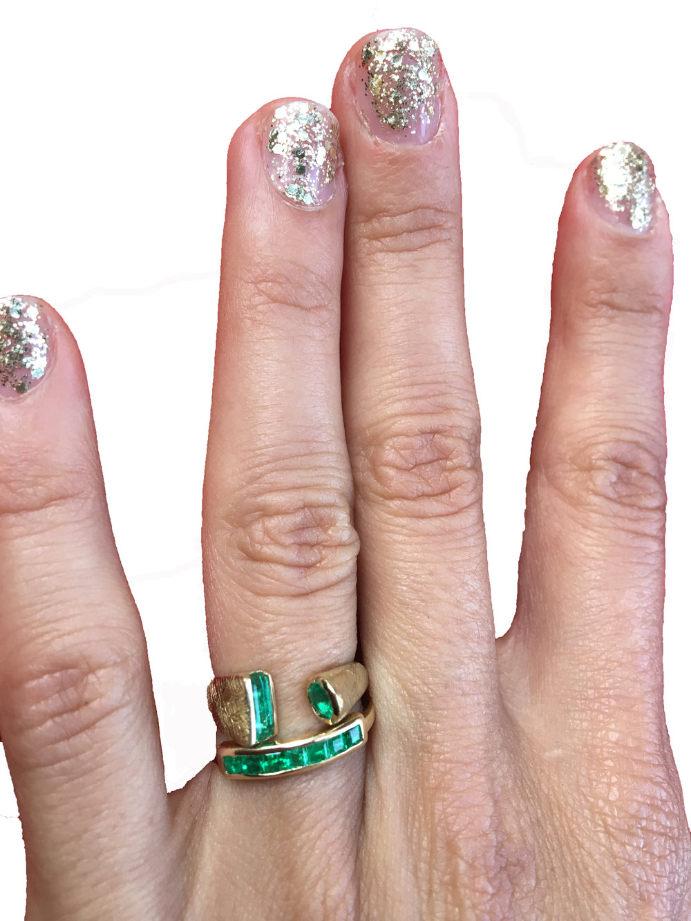 double wedding bands emerald set in recycled 18k gold