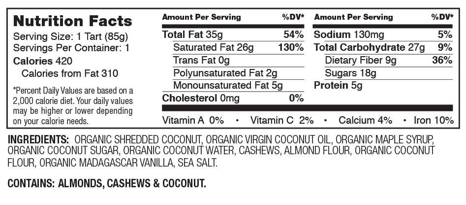 Hail Merry Coconut Vanilla Créme Tart Nutrition Facts
