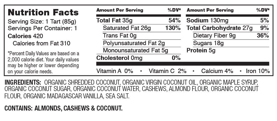 Hail Merry Coconut Vanilla Créme Tart Nutrition Facts