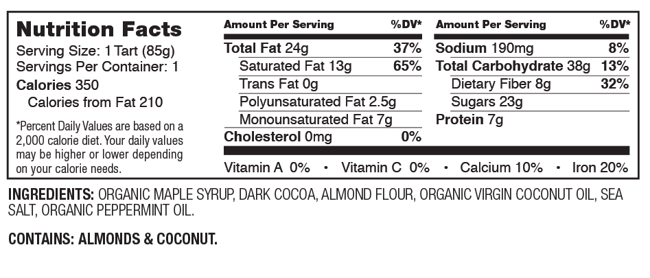Hail Merry Chocolate Mint Tart Nutrition Facts