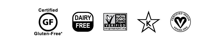 Certified gluten free, dairy free, non-gmo, kosher and vegan.