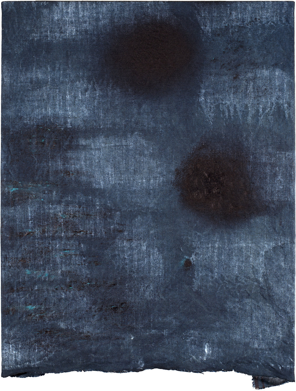 Untitled (Indigo, Raw Edge) , 2017 Indigo pigment and acrylic on indigo dyed linen 22 x 18 inches