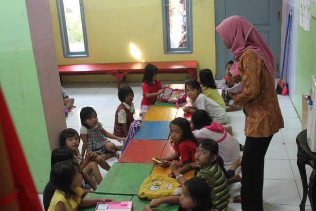 Pre-school students in Kampung Beting