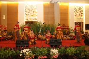 "Children from Arjasari community welcomed guests by performing beautiful traditional music ""Angklung and gamelan"""