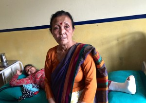 Anuradha shelters a pregnant mother, who lost her home and entire family in the earthquake