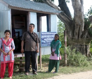 Ricardo with to Maiti Nepal activists monitoring at a monitoring post for human trafficking in Nepal-India crossing border