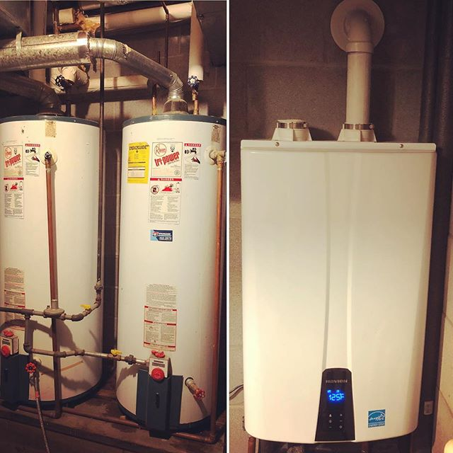 We recently replaced these TWO tired and inefficient tank water heaters with ONE high efficiency tankless water heater! Not only did this reduce gas usage but freed up some much needed space four our customer. They will never worry about running out of hot water again! Our money saving water heater special is in full swing. Call Parker Plumbing to find out how you can save money on your water heater replacement! #plumbing #waterheater #tanklesswaterheater #highefficiency #naturalgas #weloveourjob
