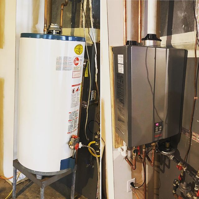 Removed another inefficient tank water heater, and installed an ultra efficient tankless water heater! #plumbing #naturalgas #rinnai #tanklesswaterheater #highefficiency #goinggreen #weloveourjob