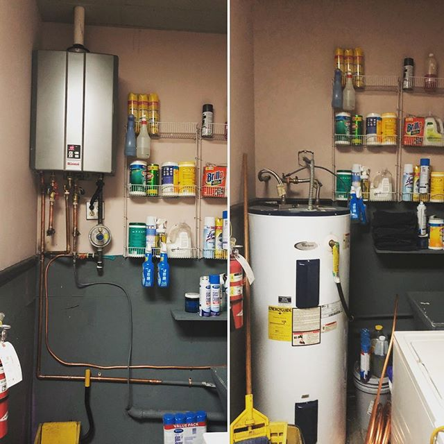 We were able to free up a ton of storage room space for this local business by upgrading them to a new tankless water heater! #plumbing #smallbusiness #rinnai #tanklesswaterheater #highefficiency #ecofriendly #weloveourjob #weloveourcustomers
