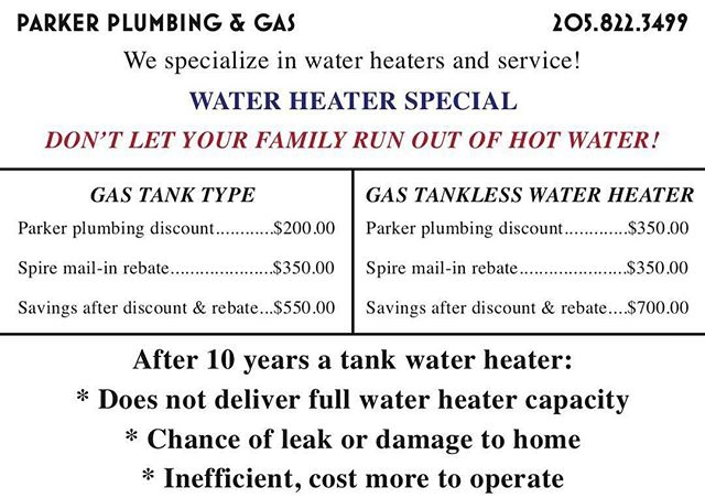 Our water heater special is still going strong! Feel free to share, because now is a great time to get that old, inefficient water heater replaced!