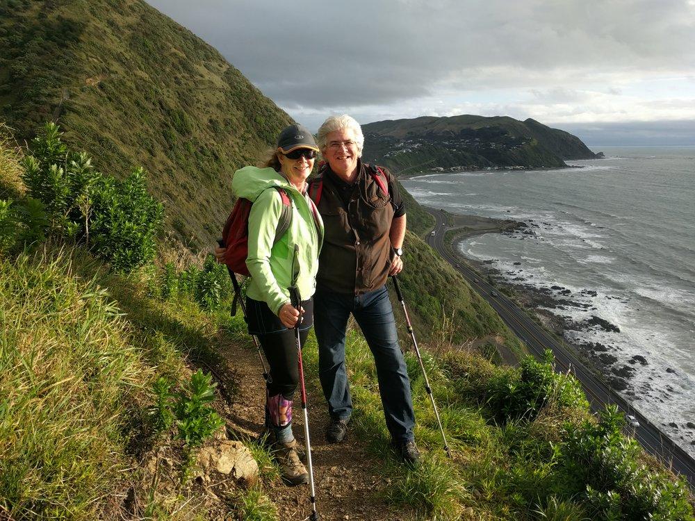 Kate and Rick on the Paekakariki Enscarpment Track. I'm taking the picture.