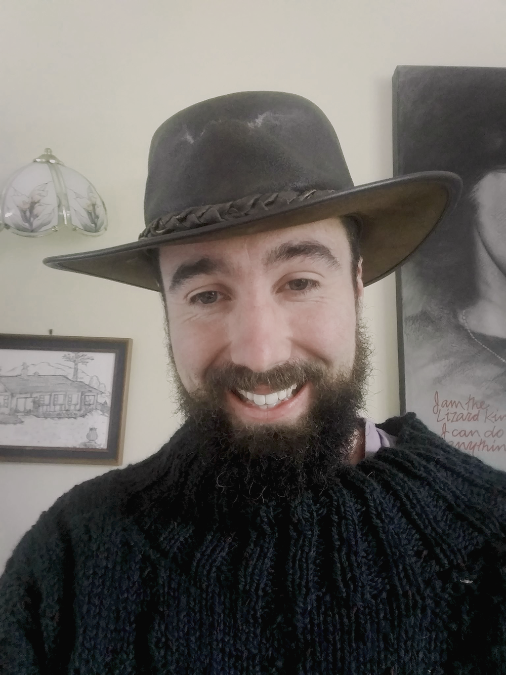 Beard update - featuring my new jersey knitted by my mum and an oil skin hat given to me by my friend in Fox Glacier.