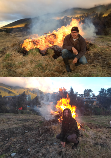 Hugh and I posing in front of a bonfire to burn off scrub from his land in St Arnaud.