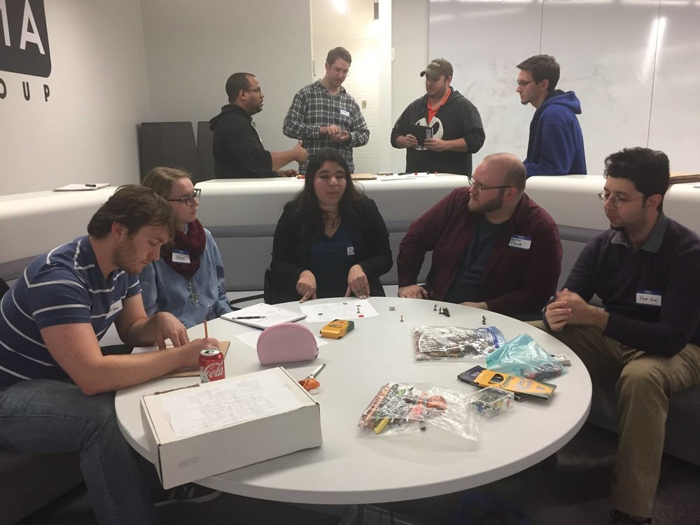 At every meetup, time is made for attendees to split up and  enjoy mini- game jams to get some experience learning more about the processes of game development.