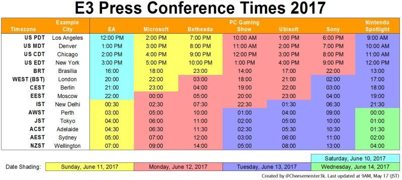 Sourced from Kotaku:http://kotaku.com/the-e3-2017-press-conference-schedule-1795222953