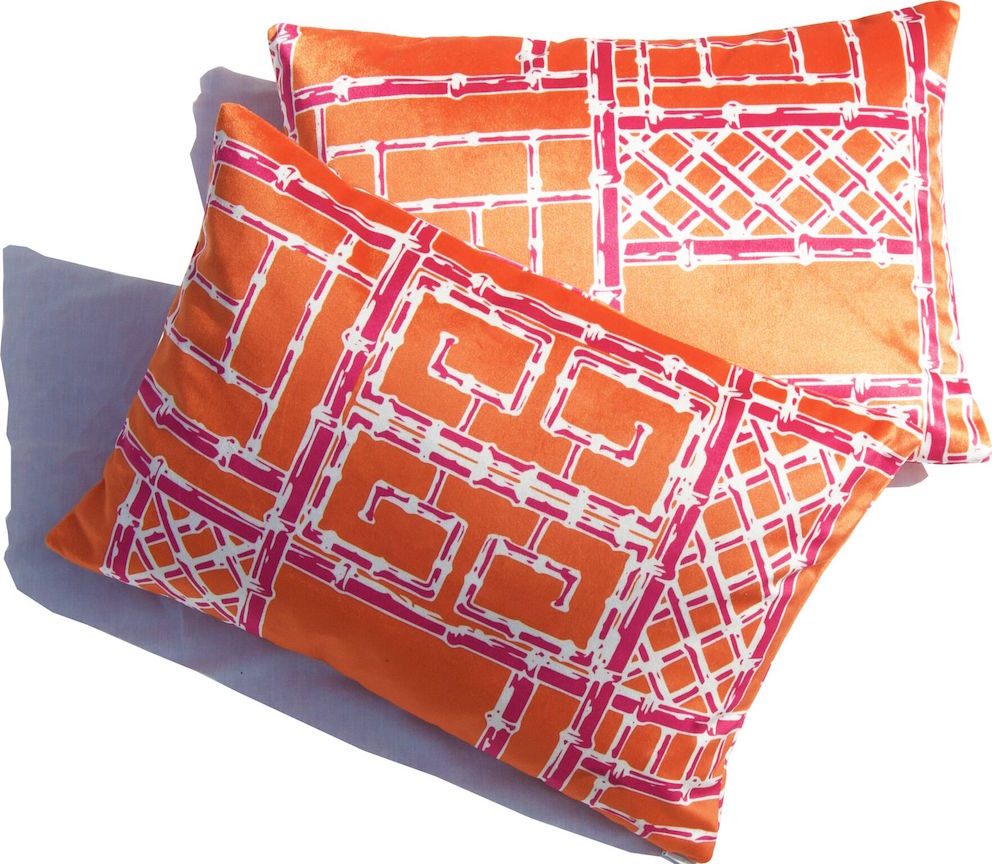 Bamboo Fretwork Lumbar Pillows_OrangeRaspberry_Velvet_preview.jpg