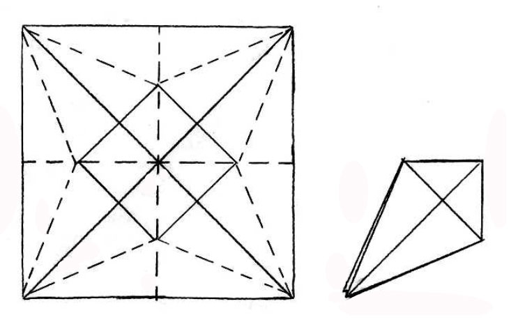 Figure 1:  Unfolded and folded bird base