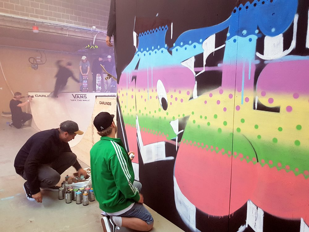 Graffiti artists and skaters at yesterdays event.