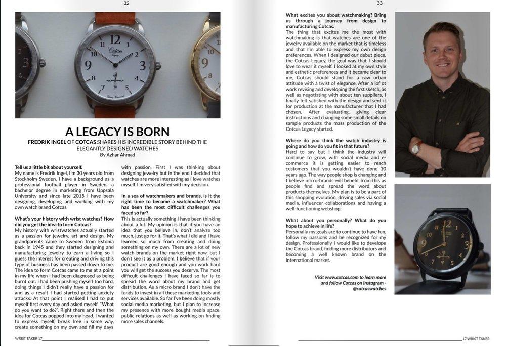 "Interview with Cotcas founder Fredrik Ingelin German magazine ""Wrist taker"""