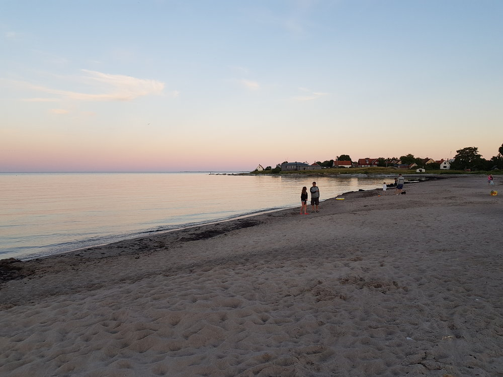 Evening on the beach in Ljugarn