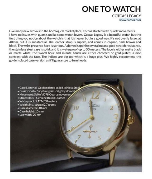A while ago we were acknowledged for our debut timepiece in the German lifestyle magazine Common. Always great to get some positive feedback on your products. 👌👌👌 _____ www.cotcas.com _____ #cotcaswatches #feature #lifestyle #lifestyleblogger #pr #accessories