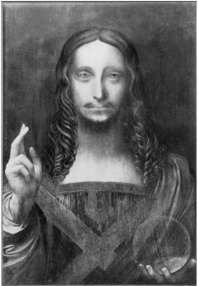Before treatment.     Leonardo da Vinci  (Italian, 1452-1519)  Salvator Mundi  Oil on panel  Private Collection  Photo Credit: Cook Collection, c. 1908-10.
