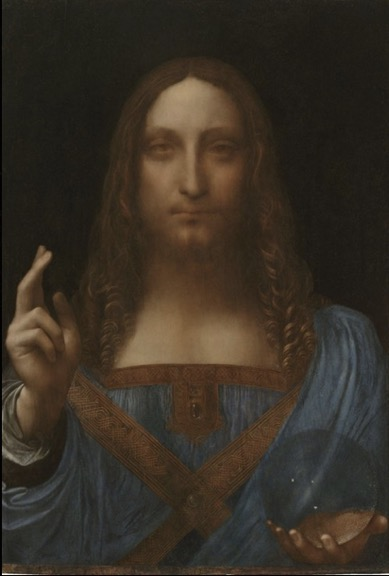 After treatment.     Leonardo da Vinci  (Italian, 1452-1519)  Salvator Mundi  Oil on panel  Private Collection  © 2011 Salvator Mundi LLC  Photo Credit: Tim Nighswander/Imaging4Art