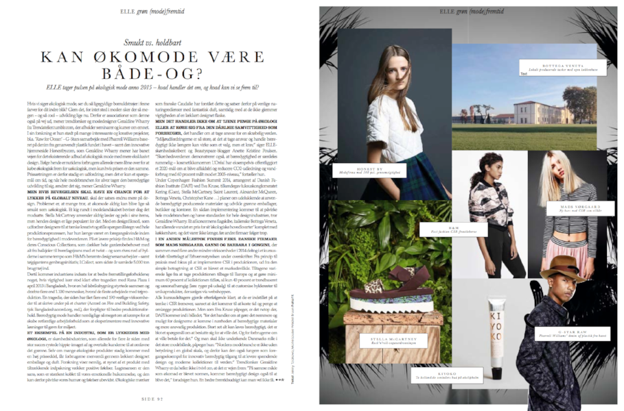 ELLE DENMARK - Trends in sustainability | March 2015