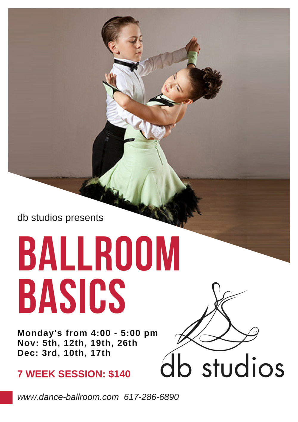 For grades 2-6 this is a wonderful introduction into the world of ballroom dance. To register for class please email kendall@dancingbuns.com   No previous dance experience or partner needed!