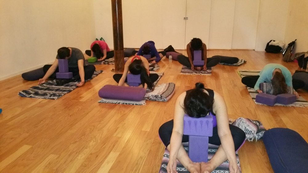 My students in Butterfly, a wonderful pose for the inner thighs and low back.