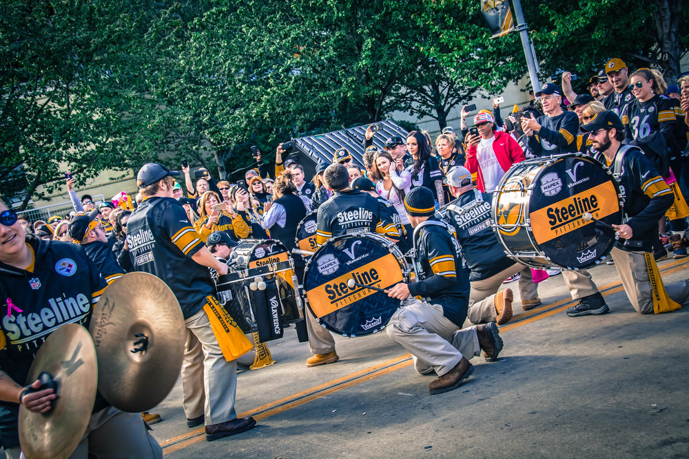 Performing during pre-game at the Steelers game on October 9th, along Art Rooney Ave!