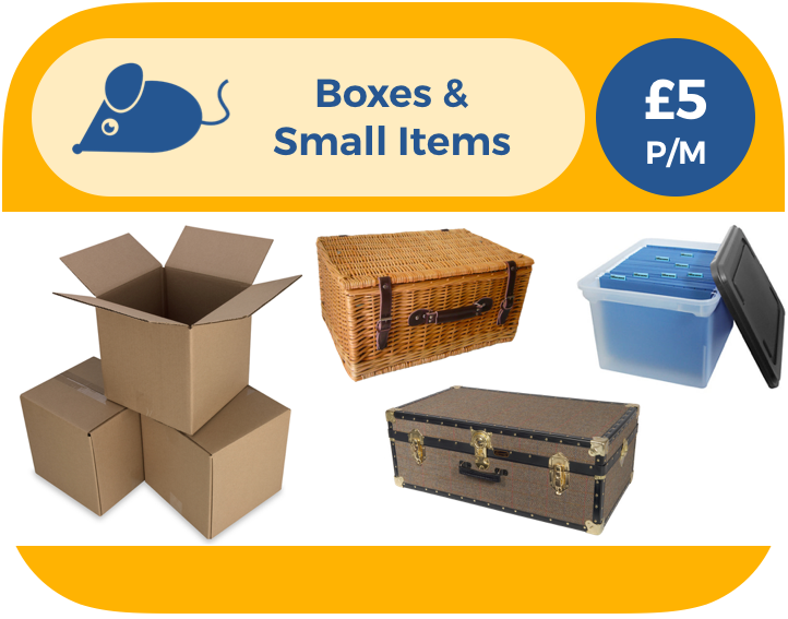 Boxes can be up to 50cm x 50cm x 50cm. Small items are anything of a similar size, like picnic hampers, small trunks or archive boxes. Remember, storing people is not ok. Not even small ones.
