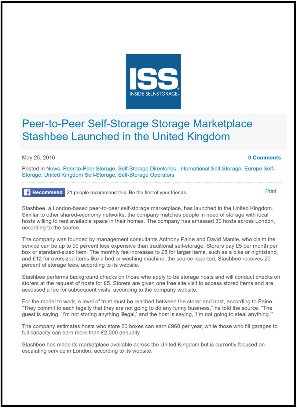 Stashbee Article in Inside Self Storage