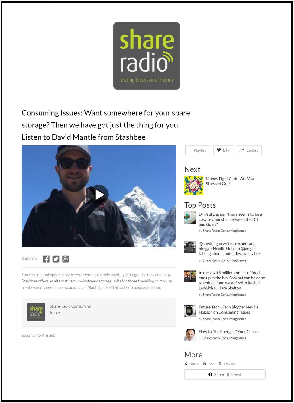 Stashbee on Share Radio