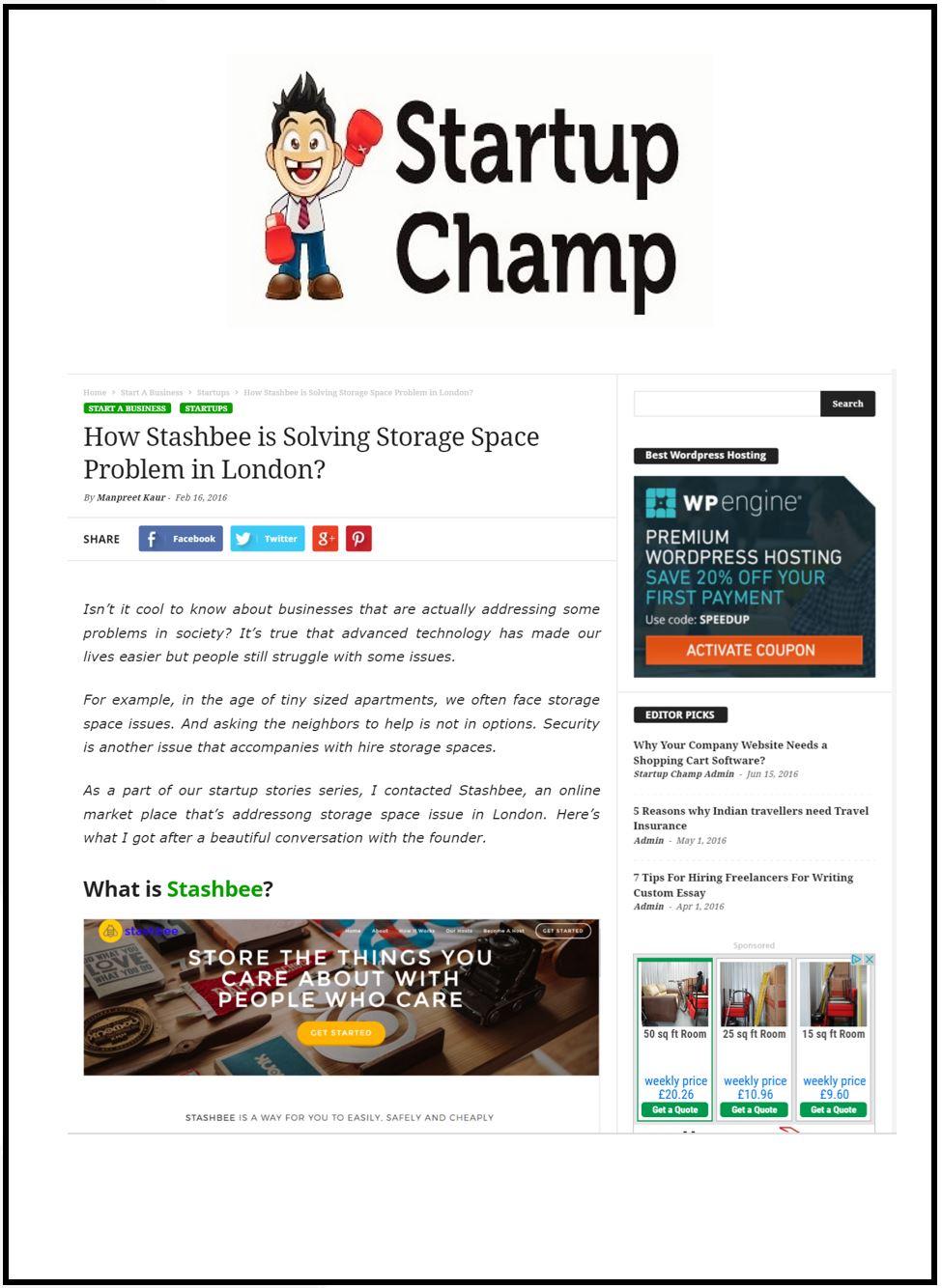 Stashbee StartUp Champ Blog Post