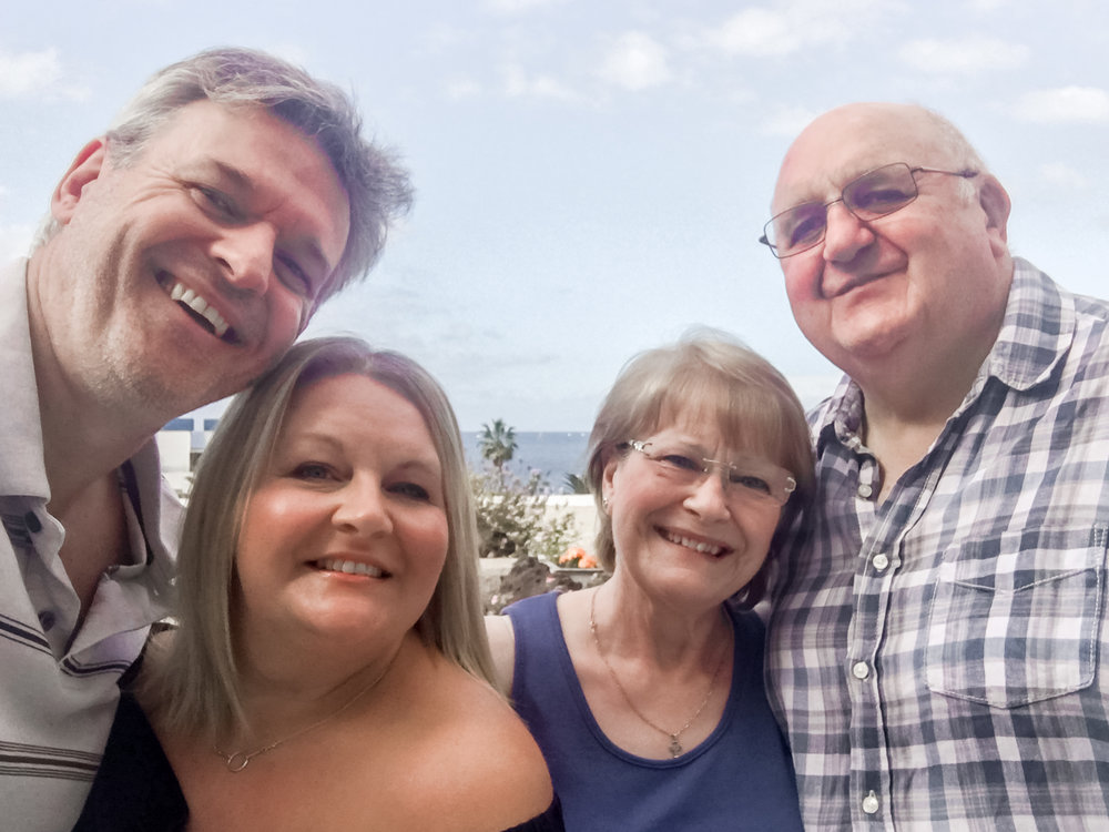 Us with Mummy & Daddy Ess, on our balcony on our last day, getting everyone together for our obligatory family selfie - my mum the nest building mother hen and my daddy my superhero!