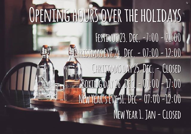 Opening hours over Christmas ☃️☃️