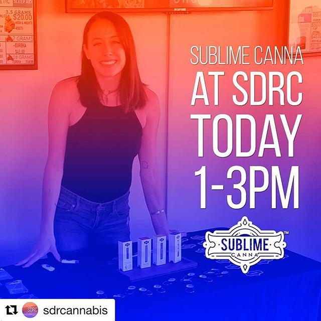 #Repost @sdrcannabis with @get_repost ・・・ Happy #friday !  SDRC is always stoked to have @sublime_canna in the house! Come by between 1 and 3pm TODAY to take advantage of the BUY 1 GET 1 deals on their beautiful vape cartridges.  #sublimecanna #cannabis #vape #marijuana #sandiego #cannabiscommunity