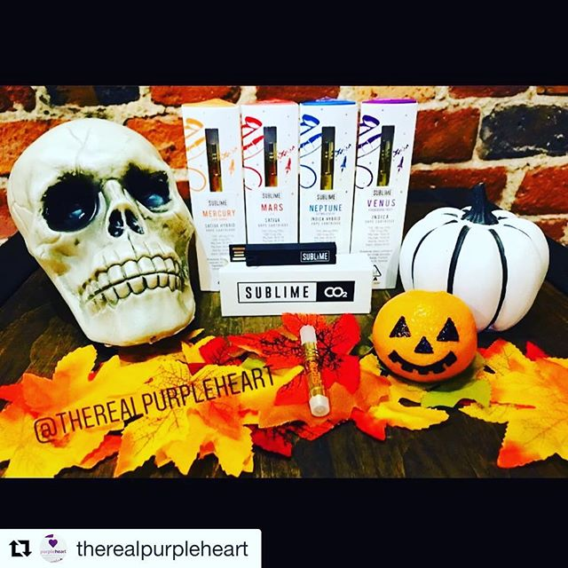 #Repost @therealpurpleheart with @get_repost ・・・ Welcome ghouls and goblins! 👻 Join us for a #spooky #happyhour today, October 25, 2018 from 4-7 pm, sponsored by @sublime_canna! 🎃☠️🍁 Today only, we have BOGO DEALS OVER 90% OFF #STRATA cartridges, PLUS every purchase comes with a #FREE c-cell battery to vape with. @sublime_canna cartridges are inspired and categorized by the #solarsystem 🌕✨🌍✨☄️ so that you can explore the universe no matter where you are! These distillate cartridges contain 30% #terps and come in your favorite indica, sativa, and hybrid strains! Ride your broomsticks to @therealpurpleheart from 4-7 PM visit the galaxy with your #STRATA @sublime_canna #vape set! 💜 #vapenation #vaper#vapers#vapeporn#thc#cannabis#deals#sale#fire#lit#halloween#oakland#sf#bayarea#smoke#smokeweedeveryday#marijuana#dank#cannabiscommunity#medical#recreational#legalize