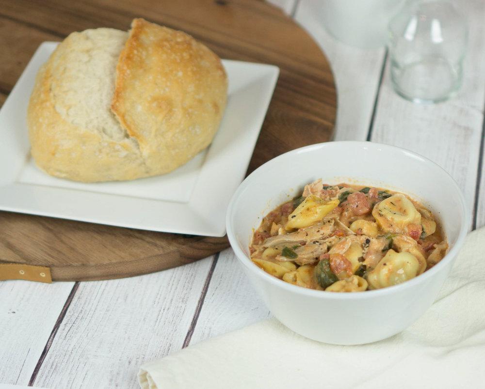 Creamy Chicken and Tortellini Soup