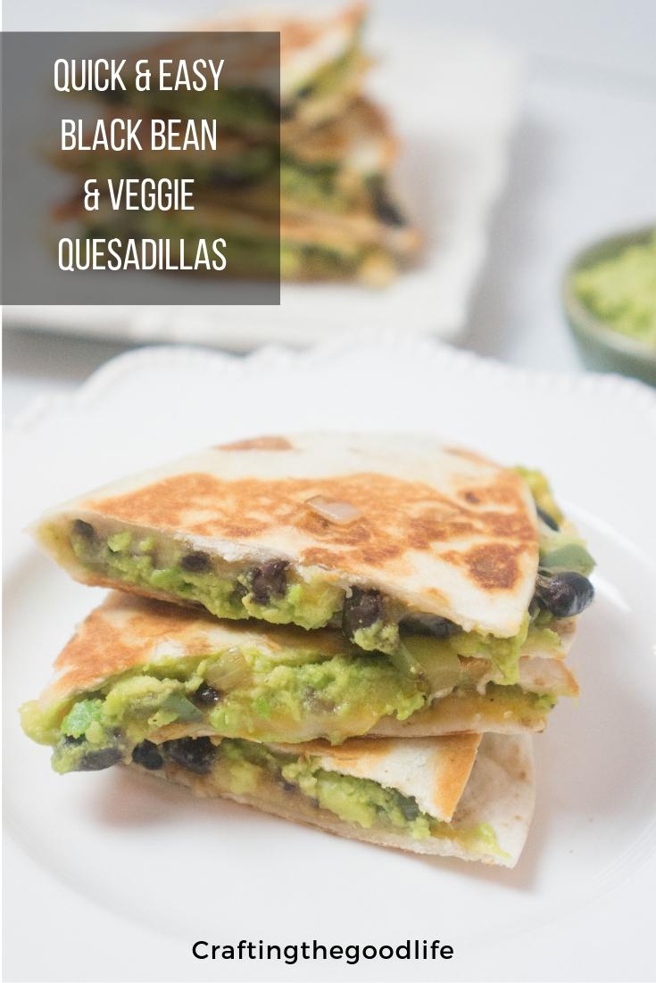 Black Bean & Avocado Veggie Quesadillas | Easy 15 Minute Vegetarian Dinner