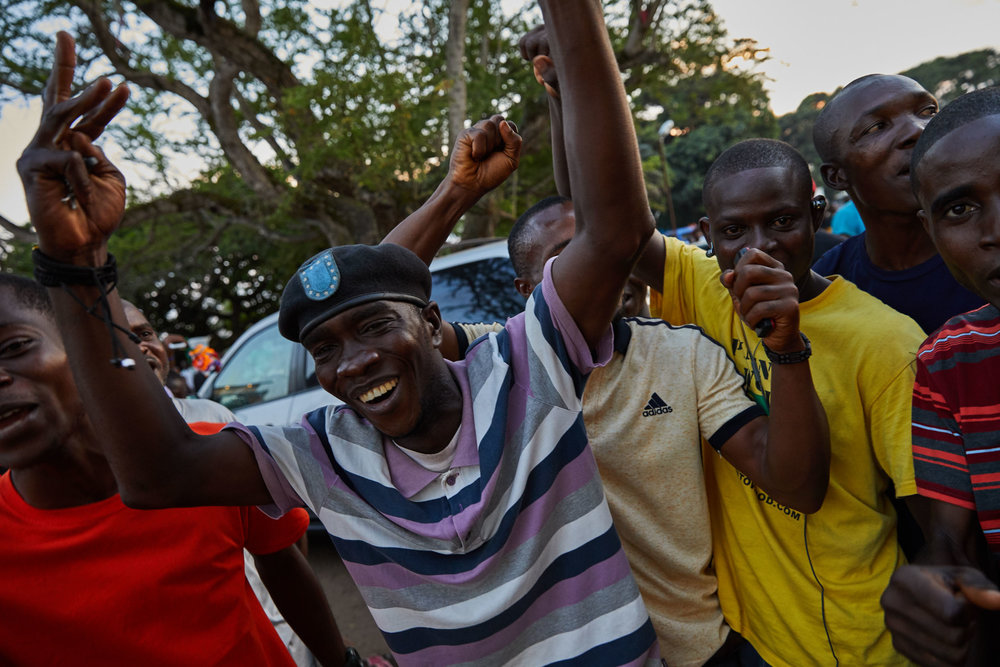 Supporters of George Weah celebrate in the streets.