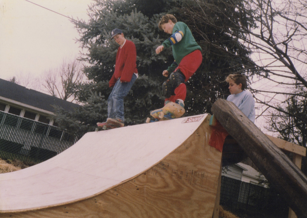 Craig Dransfield and Johnny Clift, right, skate the mini ramp in Dransfield's backyard. Photo Courtesy of Craig Dransfield