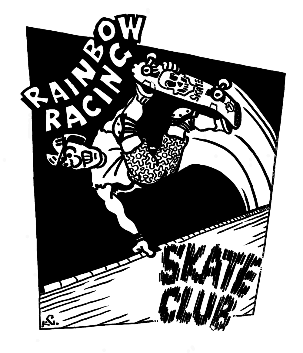 The Rainbow Racing Skate Club logo designed by Tom Cooper was made into T-Shirts and given to the members of the club. Photo courtesy of Maxine Rantane