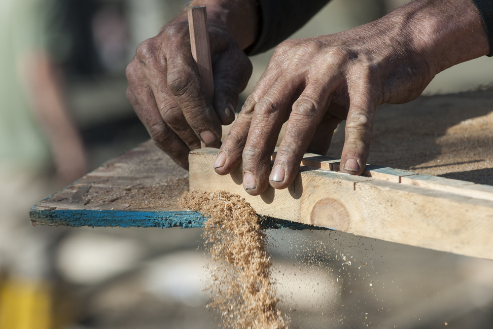 Tim Tice cuts a mold for when the concrete is poured. Tice has been building ramps and skate parks for most of his life and currently resides at Skatopia in Rutland, Ohio.