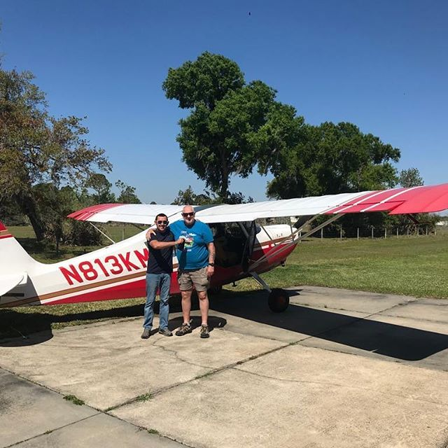 This is Cody May. Cody was a US Marine who served in Afghanistan. He's doing his PPL in the Citabria and recently soloed. He's on his way to a professional career. What a great way to start!