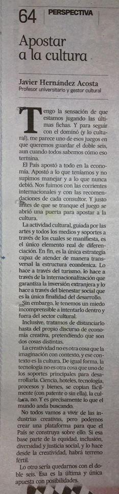 Columna El Nuevo Día - Apostar a la cultura
