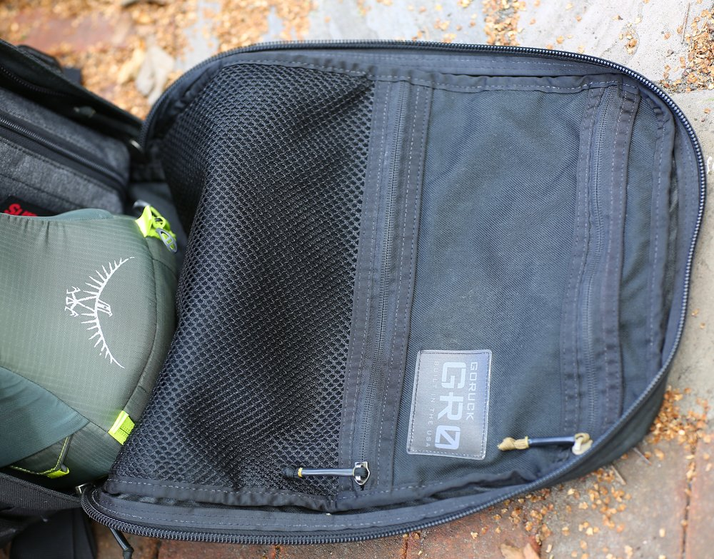 The front compartments of the GORUCK GR1 are just what you need, not a stitch more.