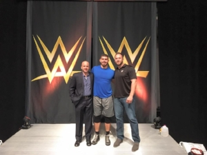 Knox (M) pictured here with his Agent and Manager (L) and the WWE's Sr. Talent Manager (R)